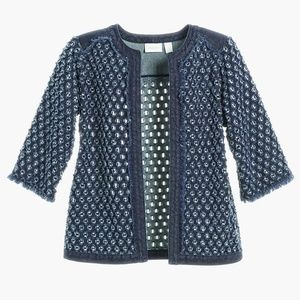 Chico's Perforated Open Front Denim Jacket